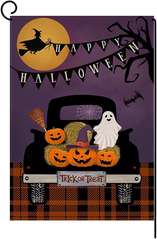 BLKWHT Halloween Trick or Treat Small Garden Flag 12x18 Inch Fall Pumpkin Vertical Double Sided Ghost Truck Autumn Thanksgiving Burlap Yard Outdoor Decor BW073
