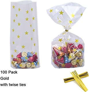 100 Pack Clear Cello Bags with Candy Cookie Bags 10 x 6 x 2.5 inch Clear Plastic Treat Bags Gold Stars Candy Bags for Cookie Candy Snack Wrapping Party Favor with Gold Twist Ties
