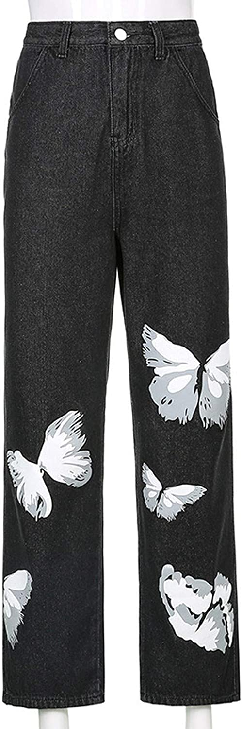 Forwelly Wide Leg Jeans for Women HIGT Waist Cute Butterfly Graphic Button up Denim Pant Full Length Trousers