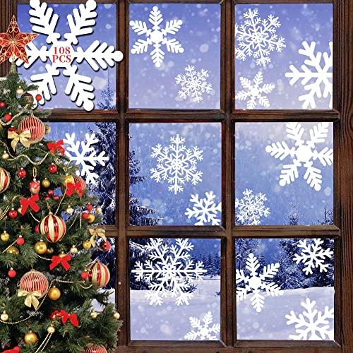108 imágenes para ventana de Navidad, autoadhesivas, reutilizables, diseño de copos de nieve, de PVC, pegatinas estáticas para puertas, escaparates, vitrinas, frentes de cristal