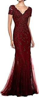 V-Neck Mermaid Mother of Bride Dresses Lace Beaded Formal Evening Dress Long Prom Gown for Women Short Sleeves
