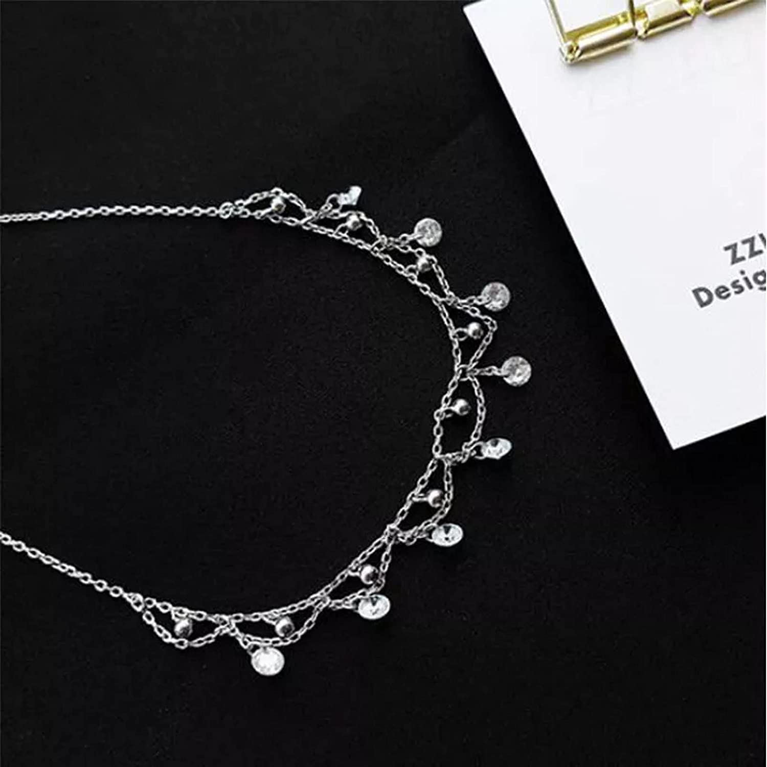 Necklace Pendant Simple Charm Zircon Waterdrop Short Necklace for Women Clavicle Chain collares Choker Christmas Mother's Day Valentine's Day Birthday Gift
