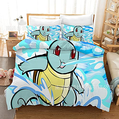 SK-YBB Juego de ropa de cama Pokemon Pikachu 3D Anime Pokémon Impreso Ropa de cama 2/3 piezas para niños y niñas (A4, SuperKing 260 × 220 cm)