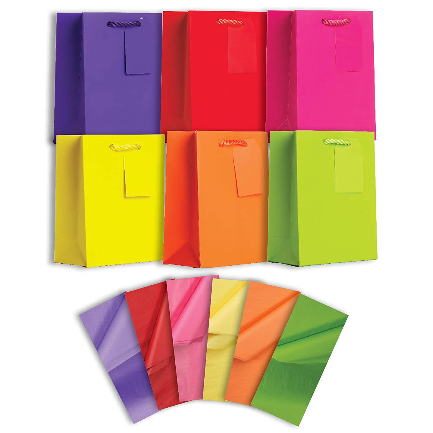 Jillson Roberts 6-Count Small All-Occasion Solid Color Gift Bags with Tissue Available in 4 Different Assortments, Bold and Bright