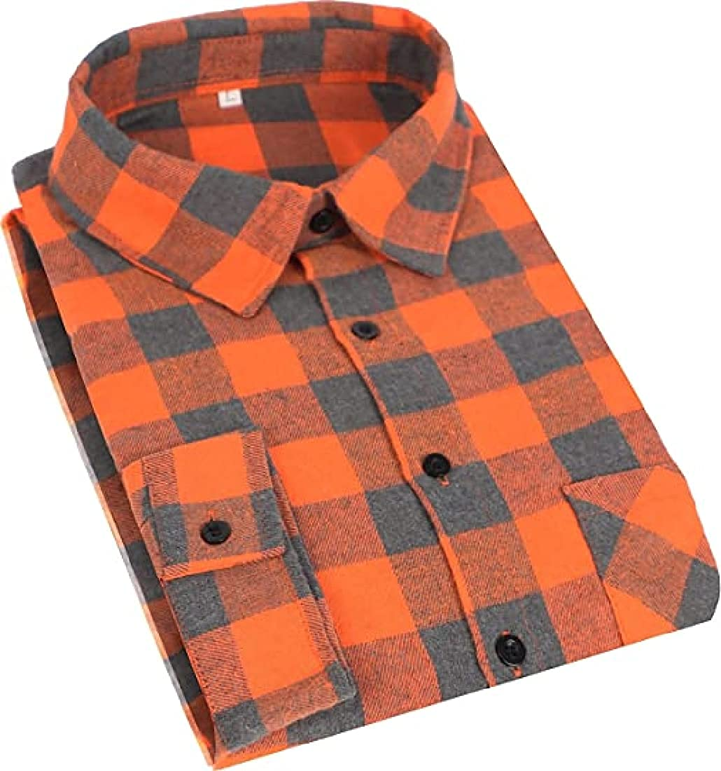 Weekly update Cromoncent Fashionable Men's Casual Plaid Flannel Shirt Button Down