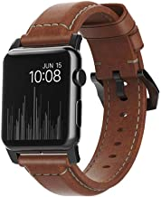 Nomad Rustic Brown Traditional 42mm Black Lugs Apple Watch Band