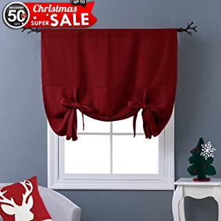 NICETOWN Burgundy Tie-Up Shade Curtain - Window Treatment Balloon Valance Drape for Kitchen Window on Christmas Day (Rod Pocket Panel, 46 inches W x 63 inches L)