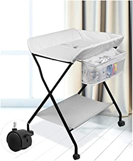 Bed Bath Changing Diaper Wet Newborn Baby Mobile Nursery Organizer Adjustable Height With Wheels, Baby Changing Stations Baby Products Diaper Table Baby Care Table Touching Portable Foldable