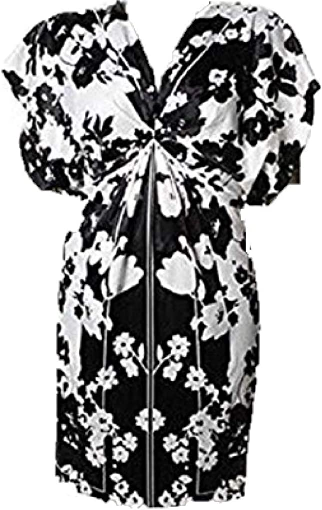 Evan Picone New Black & White Floral Print Sateen Career Cocktail Party Dress SZ 4 NWT