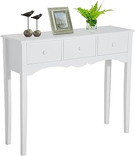 HOMCOM Mueble Mesa Recibidor Tipo Consola de Entrada y Mesa Auxiliar con 3 Cajones en Color Blanco y Material de Madera 10...