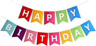 FECEDY Colorful Happy Birthday Banner Bunting