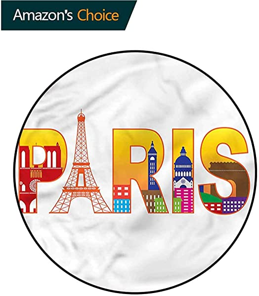 RUGSMAT Paris Machine Washable Round Bath Mat France Skyline Cultural Icons Floor Mat Home Decor Diameter 59