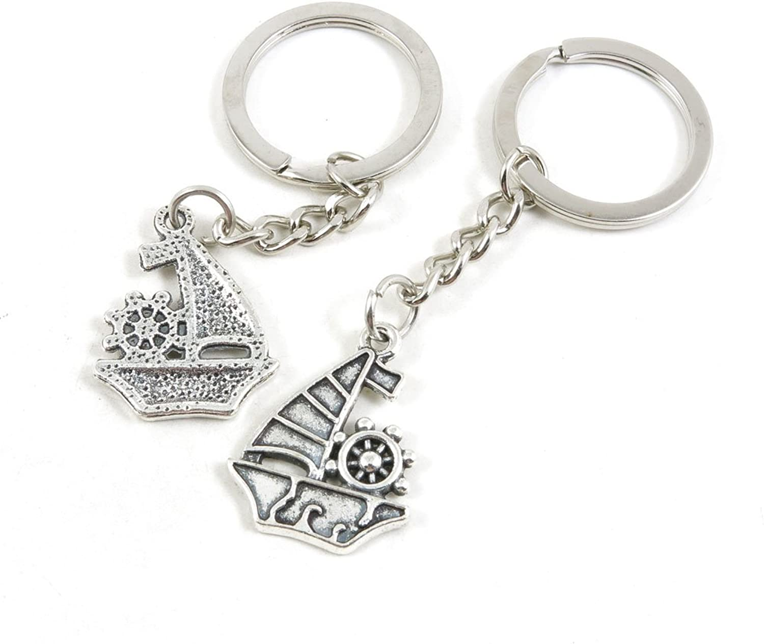 100 Pieces Keychain Keyring Door Car Key Chain Ring Tag Charms Bulk Supply Jewelry Making Clasp Findings M3WZ1V Sailboat Sailing Boat