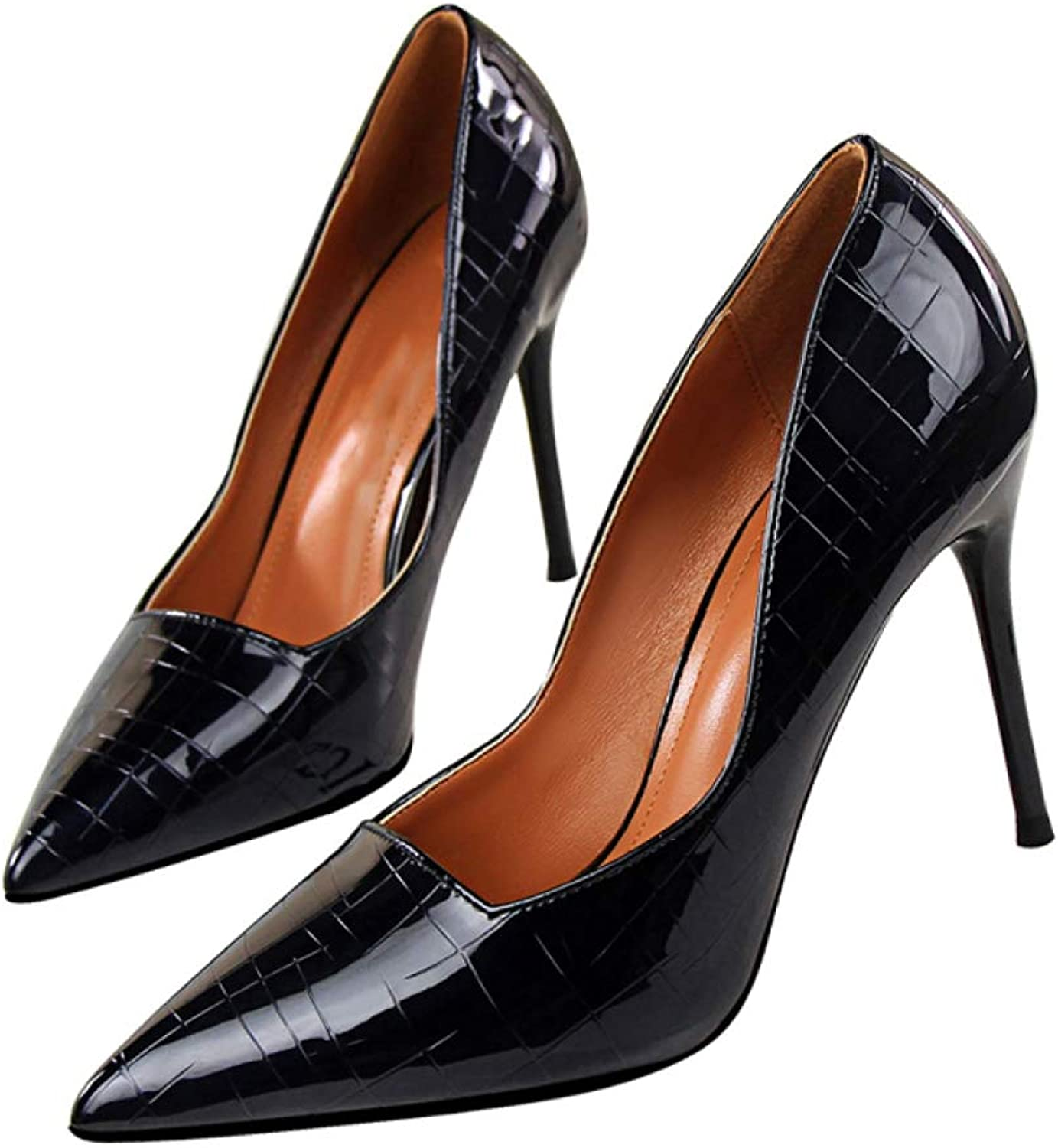 GanQuan2018 Women Thin Heels Pumps Pointed Toe Slip-On PU Leather Elegant Ladies Casual shoes