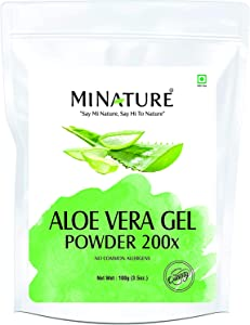 Aloe Vera Gel Powder 200x by mi Nature | Natural and Pure | Aloe Barbadensis | 100g ( 3.5oz) | Highly Concentrated (200x) | Digestive Support | Suitable for Cosmetic formulations