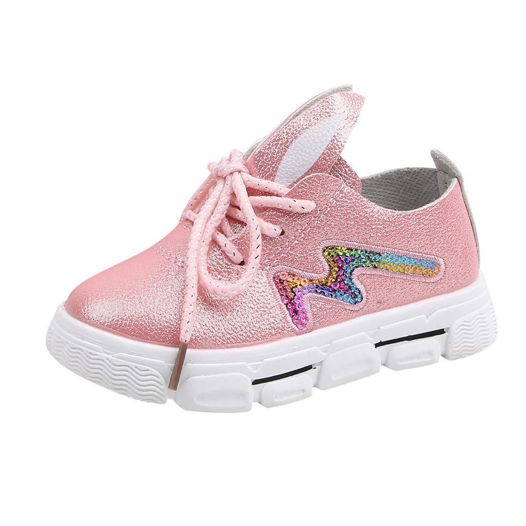 Jorich Zapatos De Bebé Niña Respirable Antideslizante Zapatillas De Deporte para Correr Al Aire Libre Zapatos con Lentejuelas De Dibujos Animados Linda Orejas (Rosado, EU:28=Size:28): Amazon.es: Hogar