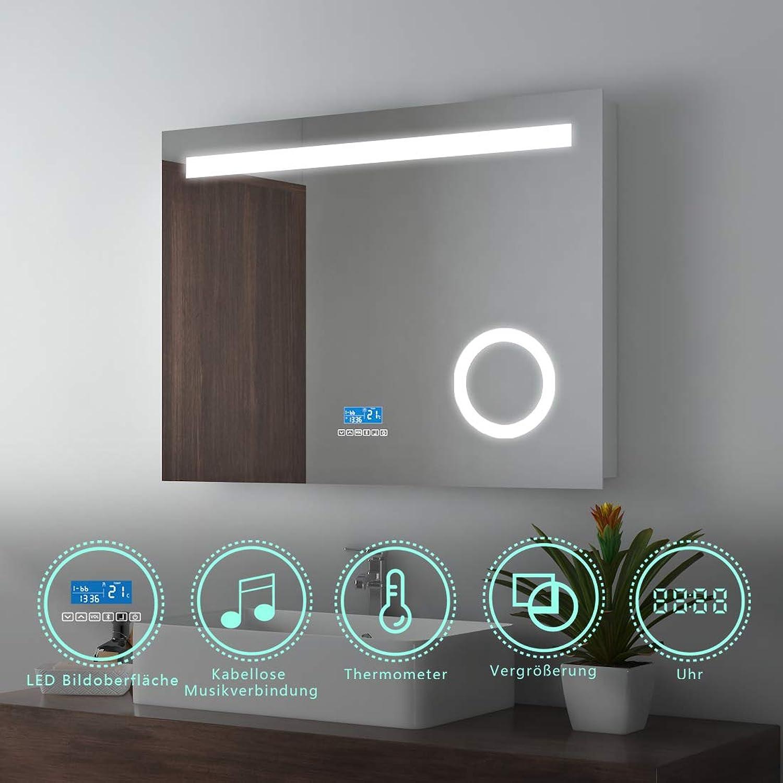 80x60cm LED Badspiegel Wandspiegel Beleuchtung Badezimmerspiegel Schminkspiegel mit 3-Fach Vergrerung mit Blautooth 4.1 Lautsprecher, Sensor-Schalter, Digitaluhr