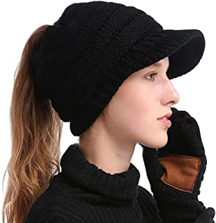 Inconly Women's Ponytail Beanie Messy Knit Tail Hats for Women Visor Beanie Cap Black