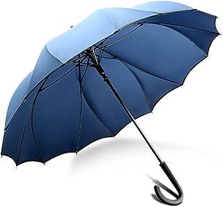 ZX popular 傘 長傘 大きい グラスファイバー傘骨 強風 嵐対応専用傘 シームレス 一枚張り 100%雨漏れない 耐風構造 通学 通勤(ネイビー M)