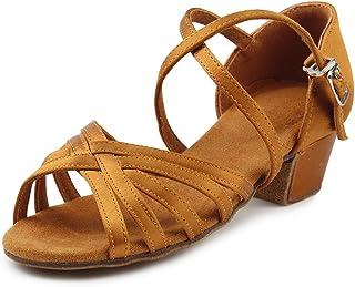 MSMAX Girls Latin Dance Shoe Satin 1.1inch Heel Practice Party Ballroom Wear