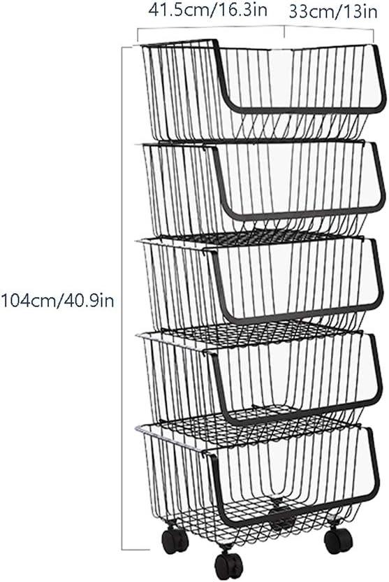 WZYJ Cesta De Alambre De Metal con Ruedas ,5 Tier Alambre De Hierro Forjado Soporte De Frutas Y Verduras Organizador De Almacenamiento De Cocina 2//3//4//5 Capa
