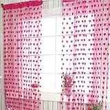 Corazón cadena cortina borla ventana puerta balcón decoración del hogar para sala estar dormitorio(Rosa roja)