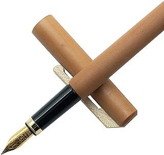 Pluma estilográfica de madera de peral, ecológica, lacada con cartucho intercambiable, en color blanco y beige.