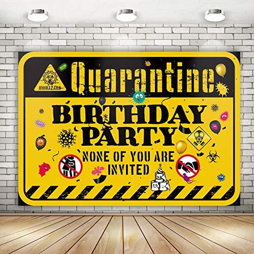 Quarantine Birthday Background Backdrop | Happy Quarantine Birthday Banner Decoration Photo Booth Props Supplies 71 x 49 inch