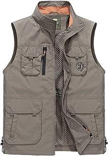 Men's vest Thin Outdoor vest mesh Multi-Pocket Fishing vest (Color : Khaki, Size : XXXL)