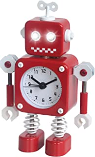 Diskary Robot Alarm Clock,Stainless Metal Non-Ticking Wake-up Clock with Flashing Eye Lights and Rotating Arm,Gift to Children (Red)