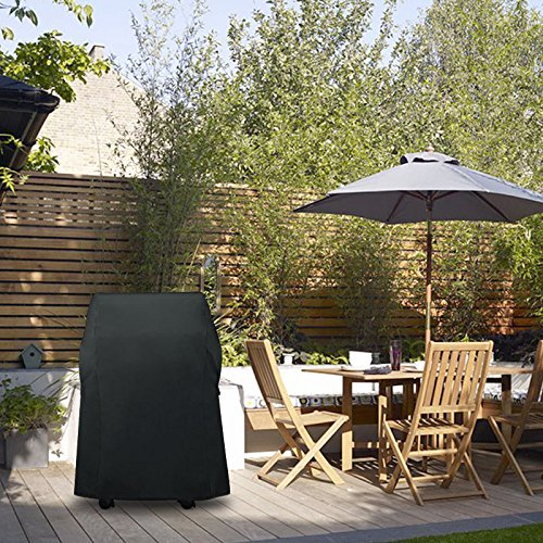 Essort Housse de Barbecue Cordon de Serrage Respirant Polyester étanche Anti-poussière Housse de Protection pour Barbecue Grill, 77 × 66 × 110 cm, Noir