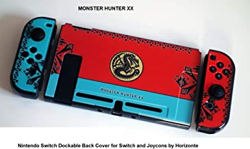 Horizonte Nintendo Switch Monster Hunter XX Red and Blue Dockable Back Cover for Switch and Joycons