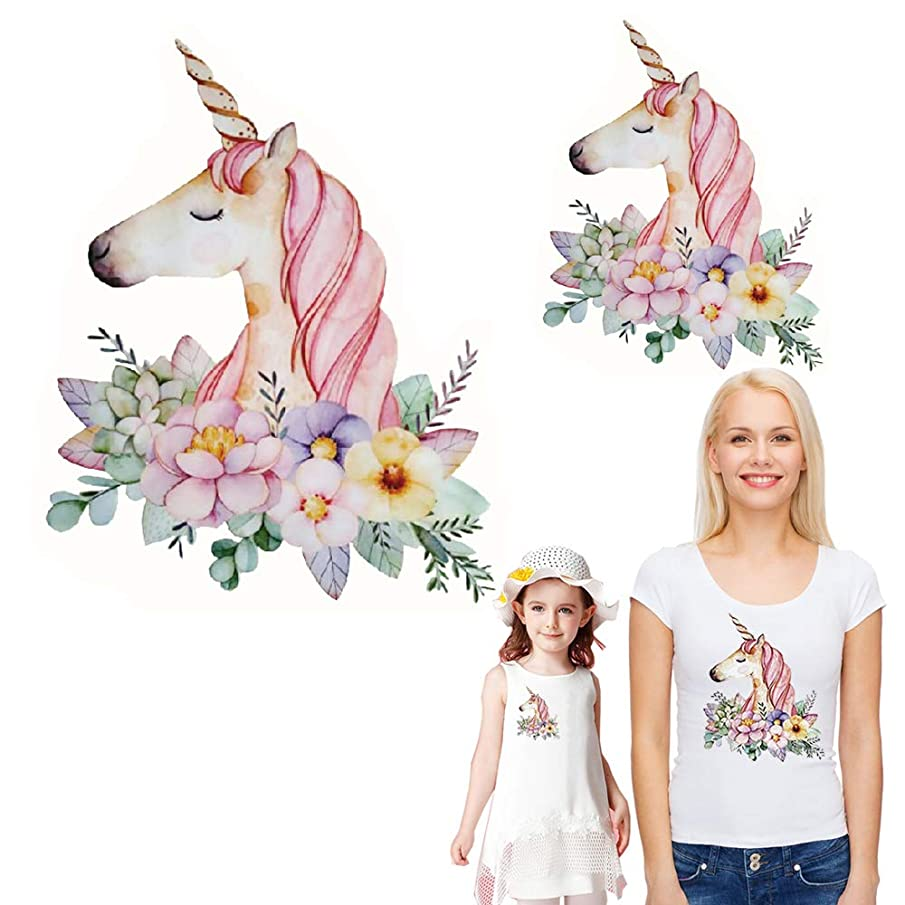 Unicorn Iron on Patches Heat Transfer Stickers Flowers Decals Unicorns Appliques for Women Girls Men T-Shirt Jeans Families Clothing DIY Patches 2PCS (Small and Big Parent Child)