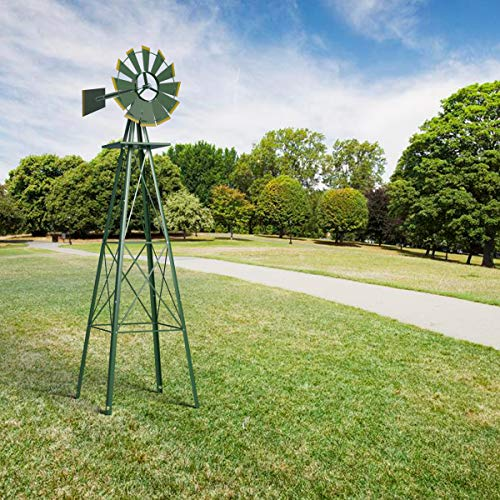 HAPPYGRILL Large 8ft Windmill Yard Garden Metal Ornamental Wind Mill for Garden Lawn Backyard, Green