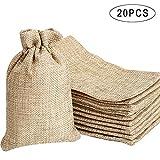 Noverlife 20 bolsas de arpillera con cordón, bolsas de lino de yute, bolsas de...