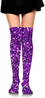 MKLOS 通気性 圧縮ソックス Breathable Thigh High Socks Over Exotic Psychedelic Print Compression High Tube Thigh Boot Stockings Knee High Glitter Sparkles Shimmer Printing Stockings Women Girl