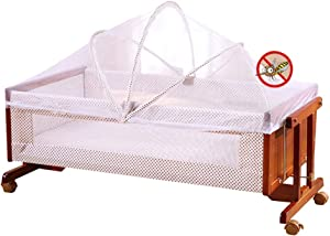 XJJUN-Rocking crib Mosquito Net Universal Wheel Mute Bumper Suitable For Swinging Baby Smell Safety Ventilation Net Cozy  Color Size 90x48x40cm