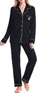 Aoymay Pajamas Set Long Sleeve Sleapwear Womens Button Down Nightwear Soft Pj Lounge Sets XS-XL
