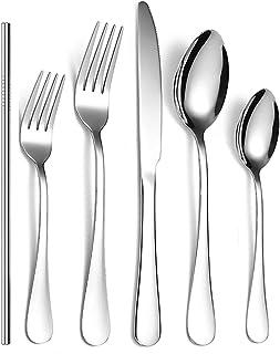 Sponsored Ad - Silverware Set,Flatware Set 24 Pieces,Stainless Steel Cutlery Set,Kitchen Utensils Service For 4,Solid Dinn...