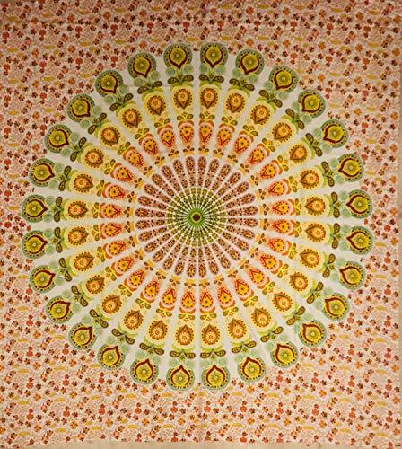 étnico - Tela decorativa con diseño de mandala de fondo blanco, 210 x 220 cm aprox., Hippie Om Indiano, fabricada en la India, de colores, para la playa, para el sofá (color naranja)