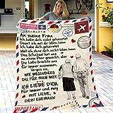 XXXZZL Personalisierte Fleecedecke An Meine Ehefrau Brief Gedruckt Quilts Luftpost Flanell Wolle Decke Mann Ermutigen Und Lieben für Ehefrau Flanell Decken Weihnachten Geschenk, Deutsche,150 * 200