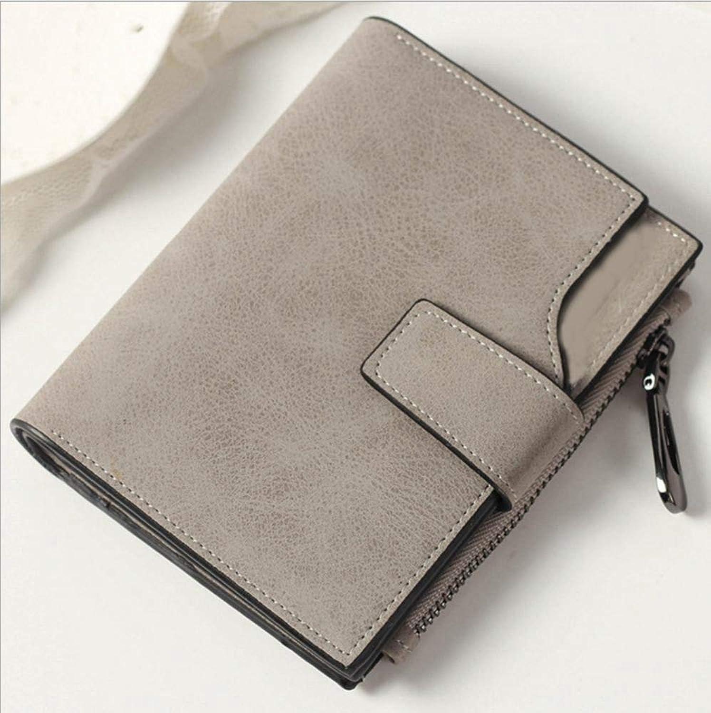 Girls Purse Women's Wallet,Short Buckle Lady Purse MultiCard Zip Wallet PU Leather (color   C)