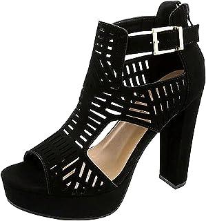cb943c8f1c3 TTms Womens Cutout Gladiator Peep Toe Platform Chunky High Heel Sandals