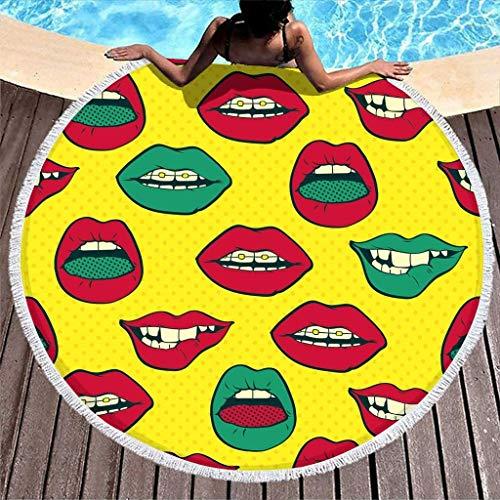 Hippie Sexy Lips Print Toalla de Playa Redonda de Secado rápido con borlas Toalla de Playa Redonda de Vacaciones 59 Pulgadas