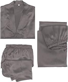 LILYSILK Silk Pyjamas for Men 3 pcs Set 22 Momme Contrast Trimmed Nightwear