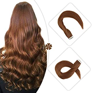 Hetto Auburn Tape in Hair Extensions Human Hair 12 Inch Thick Human Hair Extensions Auburn Blonde #30 Seamless Tape Human Hair Extensions 20pcs/40g Remy Brazilian Human Hair