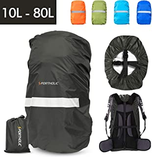 Waterproof Backpack Rain Cover,PORTHOLIC 【10-65L】【Reflective Strip Design】 Non-Slip Cross Buckle Strap & Rainproof Storage Pouch,Perfect for Hiking, Camping, Traveling, Outdoor Activities