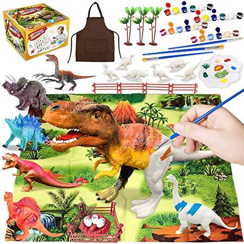Heyzeibo 44Pcs Dinosaurier Malset für Kinder, Bemalen und Basteln Sie Ihre eigenen Dinosaurier Figuren, DIY Malerei Kit für Jungen Mädchen, Dinosaurier Figuren Kunst Handwerk Set Geschenke
