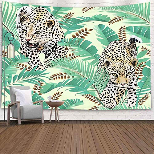 Art Wall Tapestry, Wall Room Decor Collegw Dorm Decor Cheetah Leopards Palm Leaves Tropical Watercolor in The Jungle Backgroundfor Living Room Dorm Background Tapestries