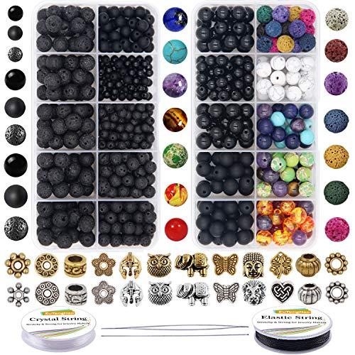 EuTengHao 810Pcs Color Lava Rock Beads Stone Chakra Beads Spacer Beads Kit with Volcanic Gemstone Crystal String for Diffuser Essential Oils Yoga Bracelets DIY Jewelry Making Supplies (4mm 6mm 8mm)